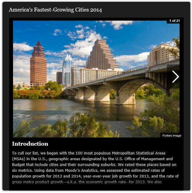 America's Fastest Growing Cities 2014 by Forbes Magazine